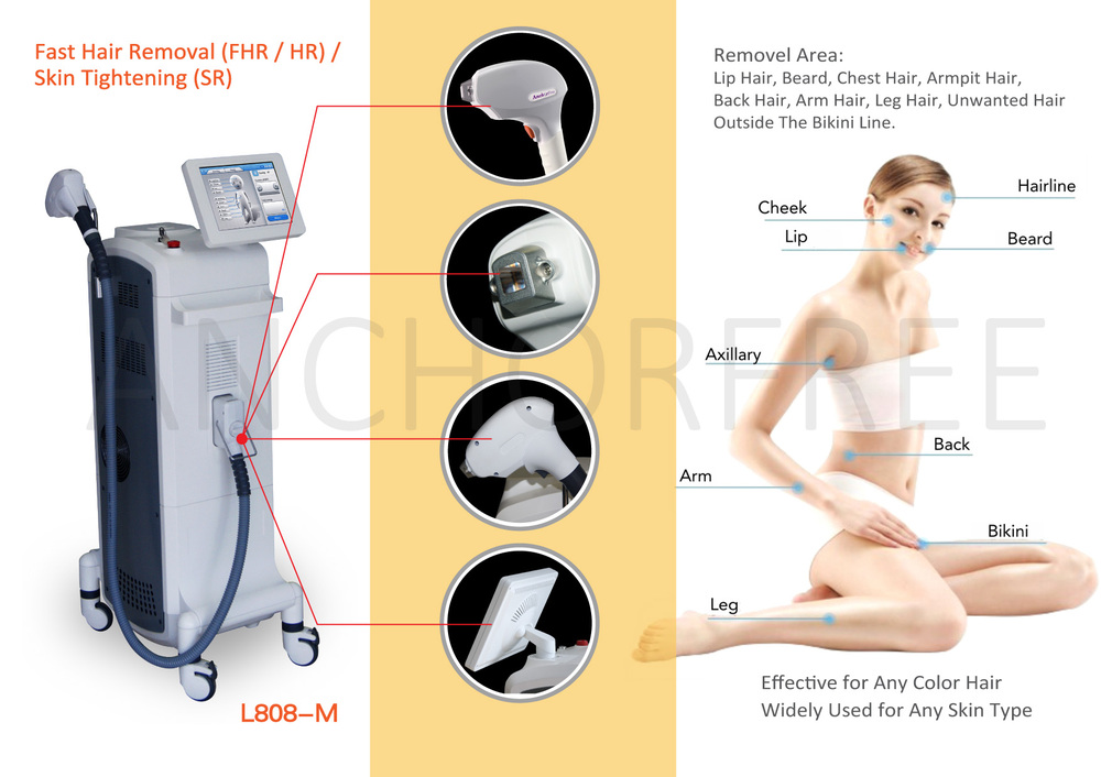808nm Diode Laser Hair Removal System with CE America FDA Approved