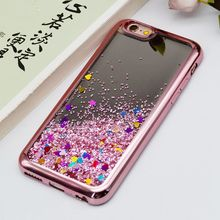Mirror Plating Glitter Bling Liquid Crystal TPU Quicksand Phone Case for Samsung Galaxy j7, Liquid siliocne case for iPhone 8