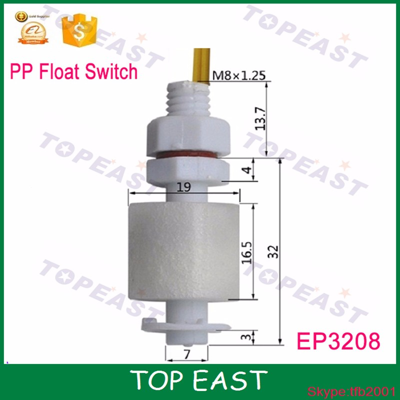 PP electronic water level sensor M8*32mm Magnetic float sensor water float switch sensor