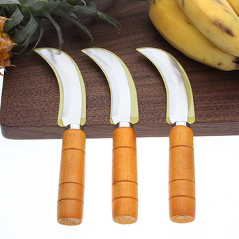 Stainless steel  banana Pineapple knife handle wood
