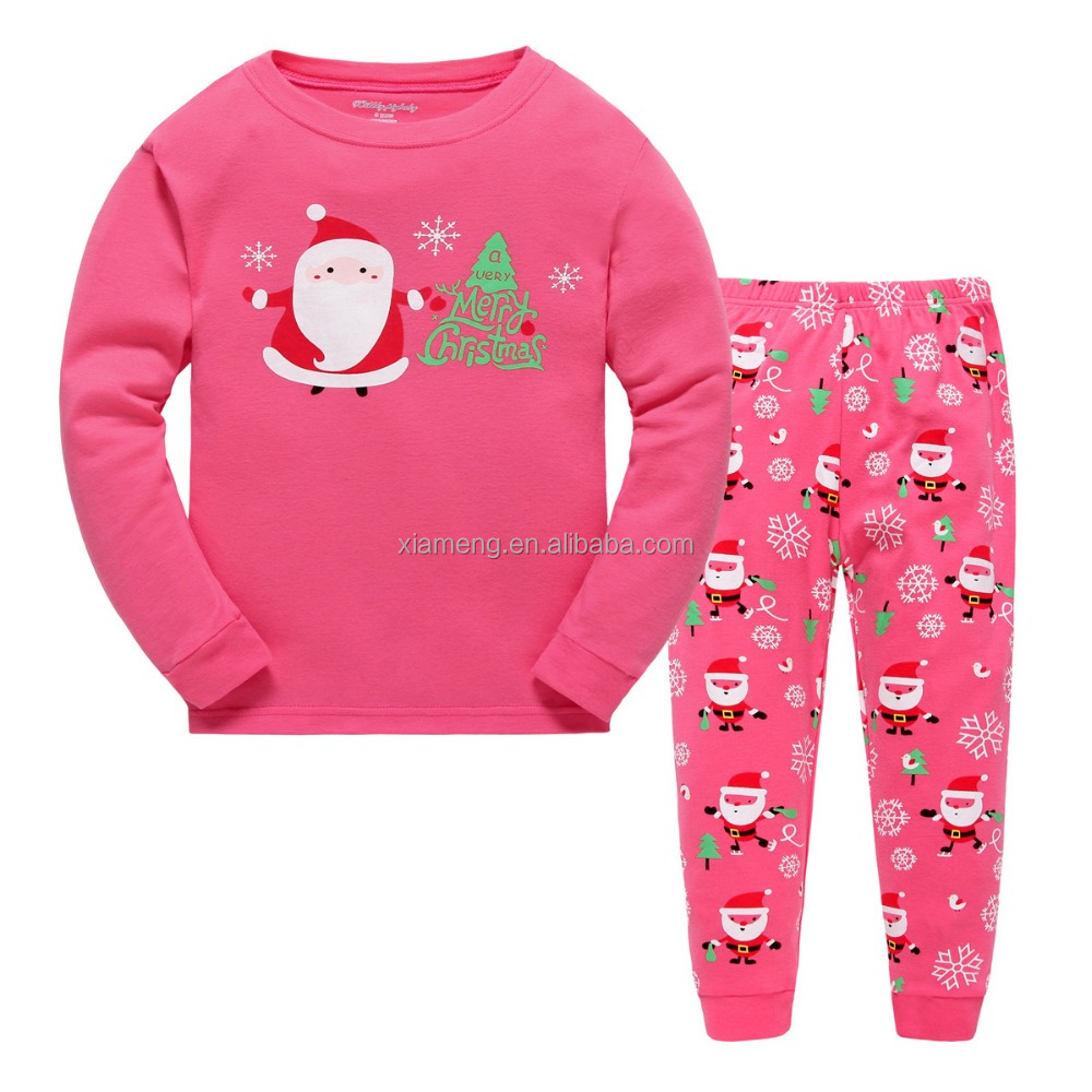 pink girl long sleeve cotton santa claus print christmas pajamas kids winter clothes homewear sleepwear