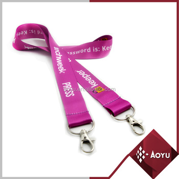Newest style promotional red lanyard with double buckel