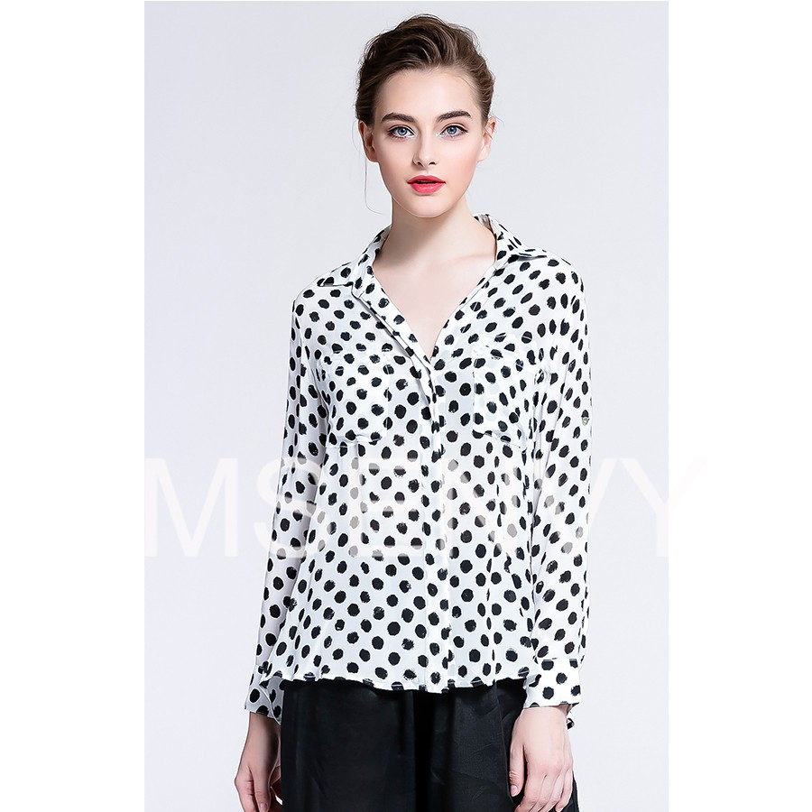 Women Silk crepe de chine dot shirt