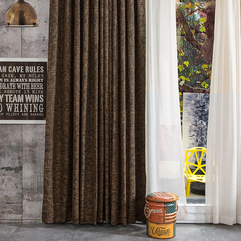 modern simple style pure dark color blackout thick cotton fabric curtain for both hotel and living room