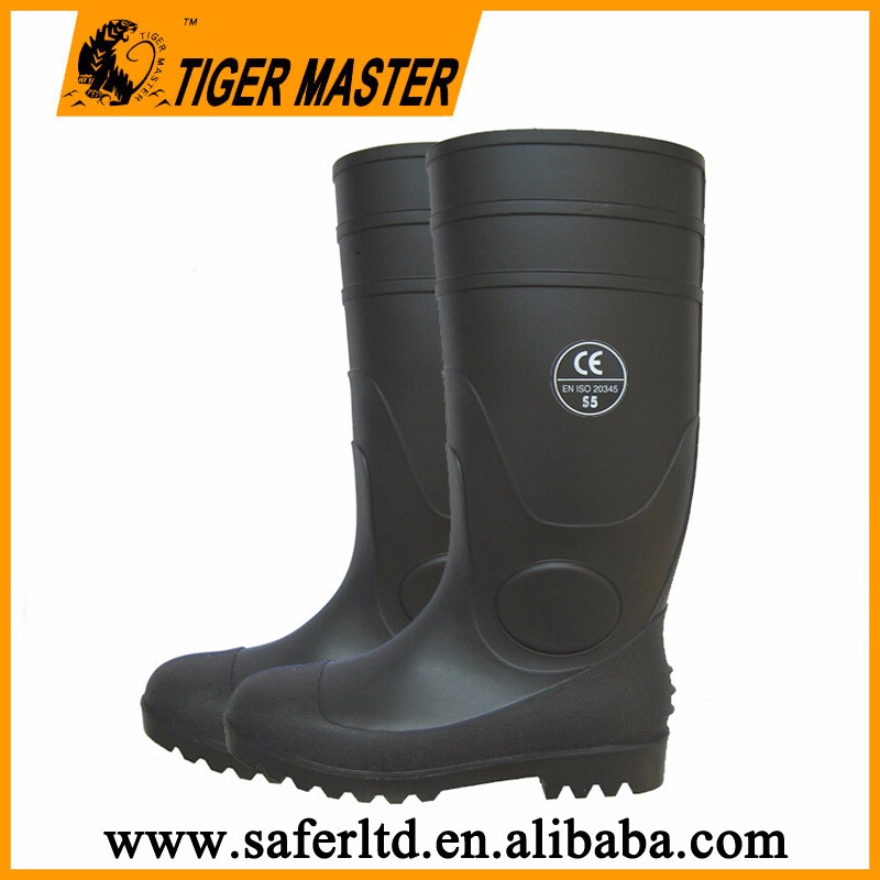safety PVC rain gumboots with steel toe and steel plate 100% waterproof heavy duty