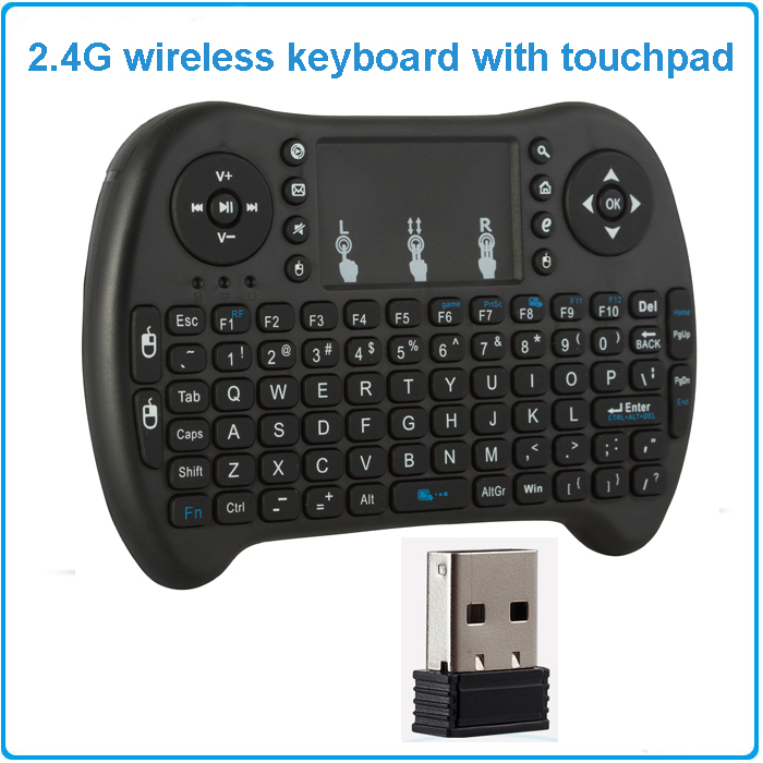Mini rechargeable wireless keyboard 2.4G English version air mouse touchpad handheld for android TV laptop