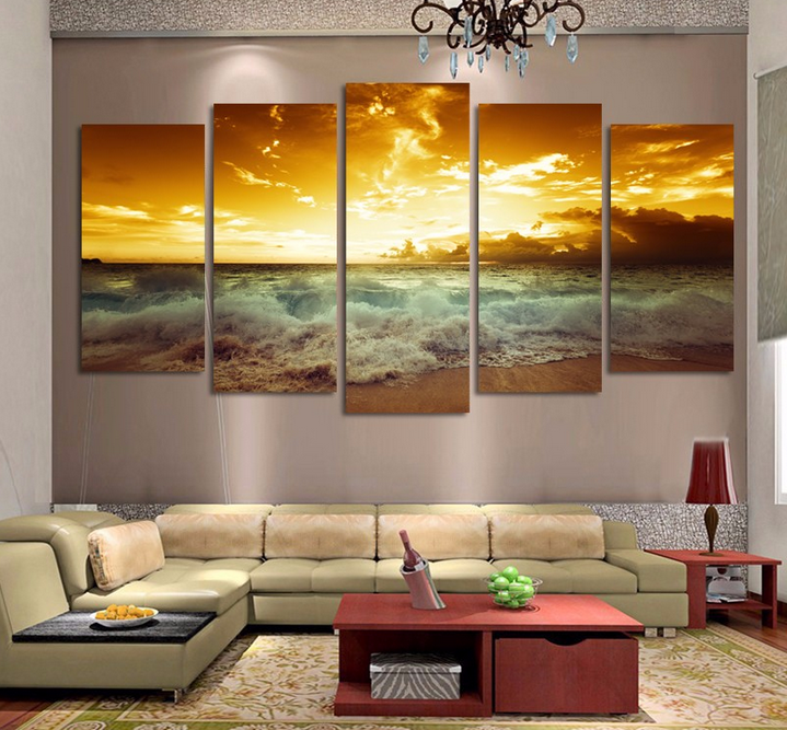 Unframed 5 Piece Yellow Sea sun Modern Home Wall Decor Canvas Picture Art HD Print Painting On Canvas