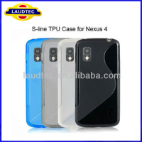 Clear Soft TPU Gel S-Line Curve SKin Cover Case for LG Nexus 4 E960 Black Blue Pink Purple White