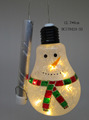 Bulb shaped glass ball with snowman and led light inside Christmas ornaments