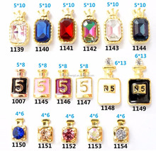 Wholesale metal nail charm new designs luxury rhinestone perfume bottles nail art decorations 3d