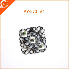 arabesque metal trimmings with 3 rhinestone for garment