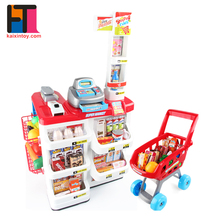 kids role play funny plastic electronic supermarket toys with shopping trolley
