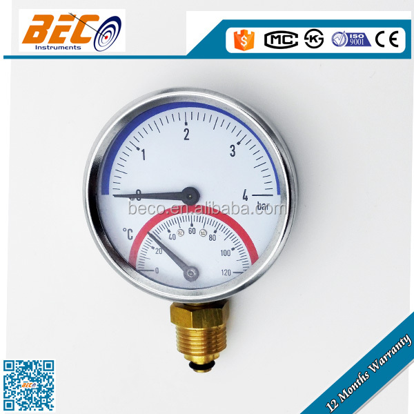 Compound Wika Type Pressure Temperature Gauge with painted steel case