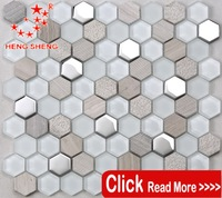 Wholesale hexagon glass& stone kitchen backsplash tiles with high quality