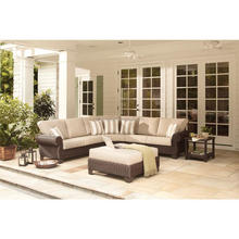 Royal luxury design deep seating rattan sofa set with rolled arms pro garden furniture