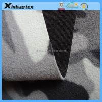 camo micro fleece bonded with TPU film and warp knitting fabric