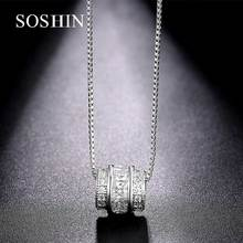 SOSHIN Fashion Jewelry 18K White Gold Plating Paved Cubic Zirconia Crystal Channel Necklace LN155