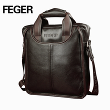 Drop shipping FEGER classic mens bag cow leather business handbag