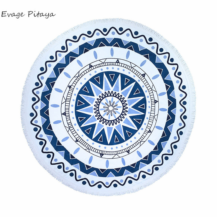 blue and white fight color round Yoga Mat Mandala pattern <strong>cotton</strong> with tassels star beach towel