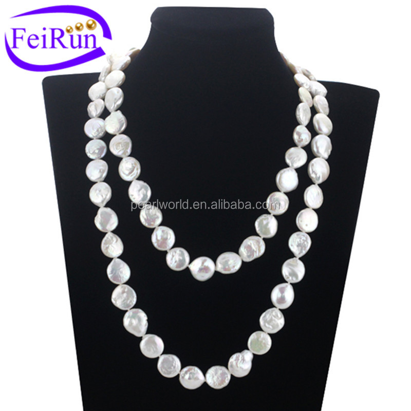 12mm AA coin 120cm 100% real freshwater pearl set, long pearl necklace