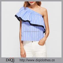 Latest Designs Summer Guangzhou Clothing Factory OEM Woman Fashion Blue And White Striped Contrast Trim One Shoulder Ruffle Tops