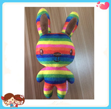 Custom High Quality Cute Soft Comfort Stuffed Plush Colorful Rainbow Rabbit Doll Toys For Kids