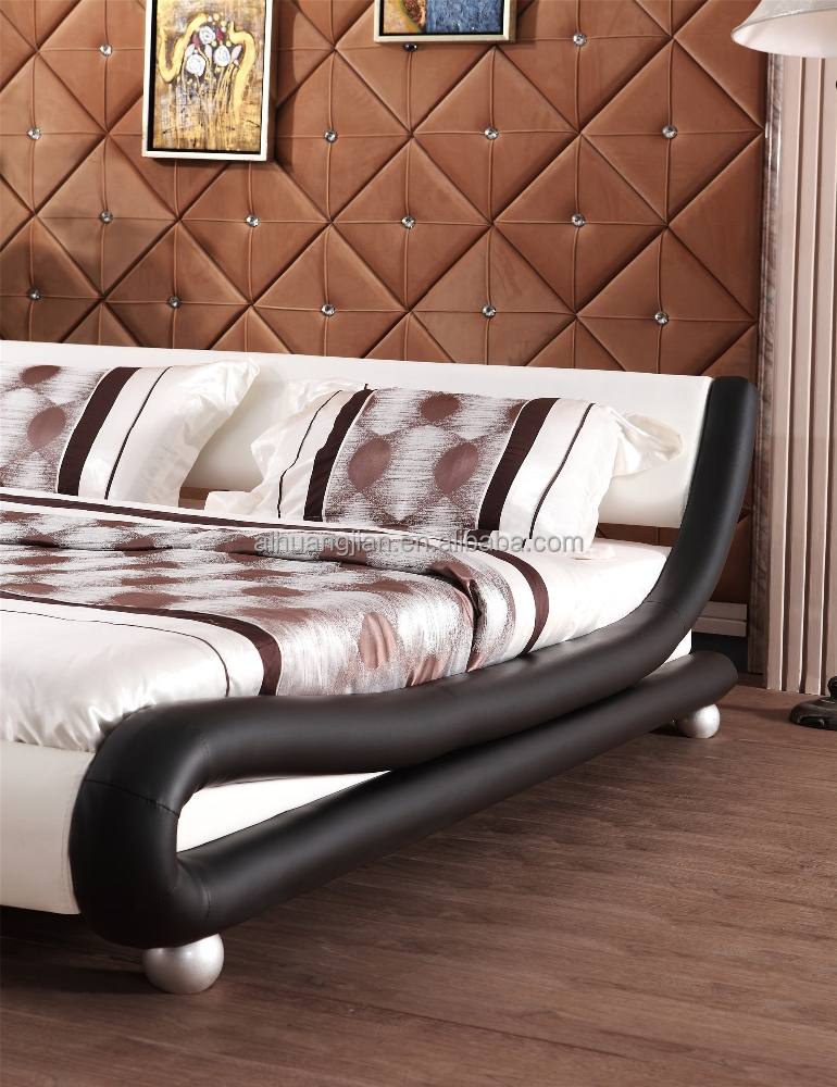 curve shape beds black and white coloour, bed frame wholesale, simple bed frames for europe market