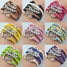 fashion JUSTINE BIEBER symbol multilayer heart shape with number 8 long braided chain women bracelets Wholesale