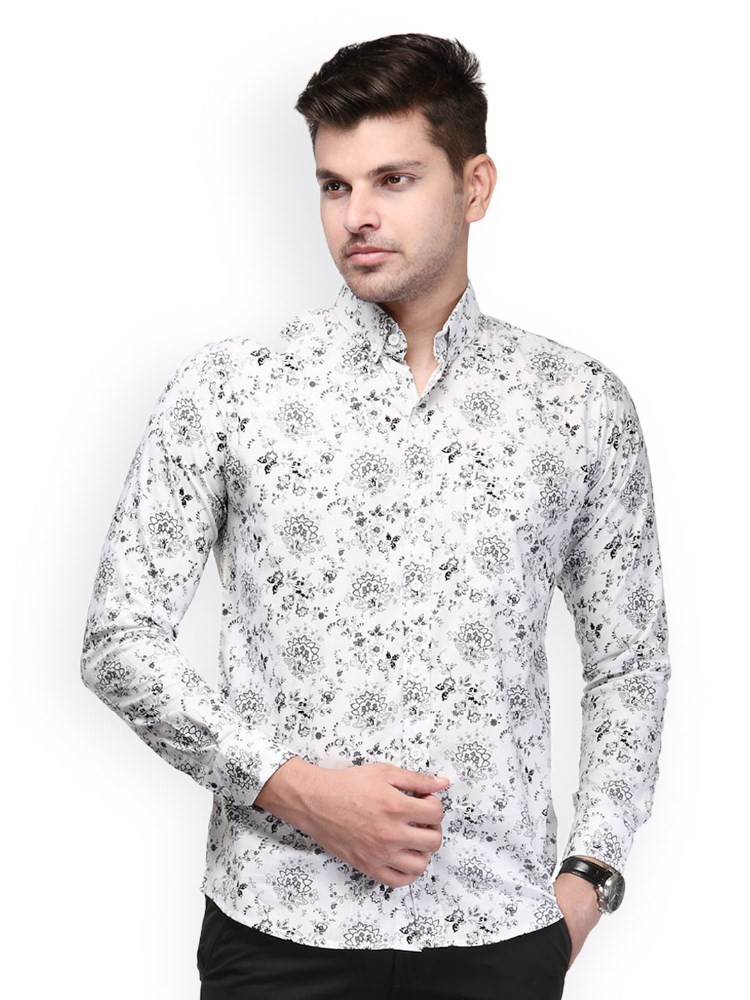 Men White Printed Casual Floral Shirts For Men - Buy Floral Shirts ...