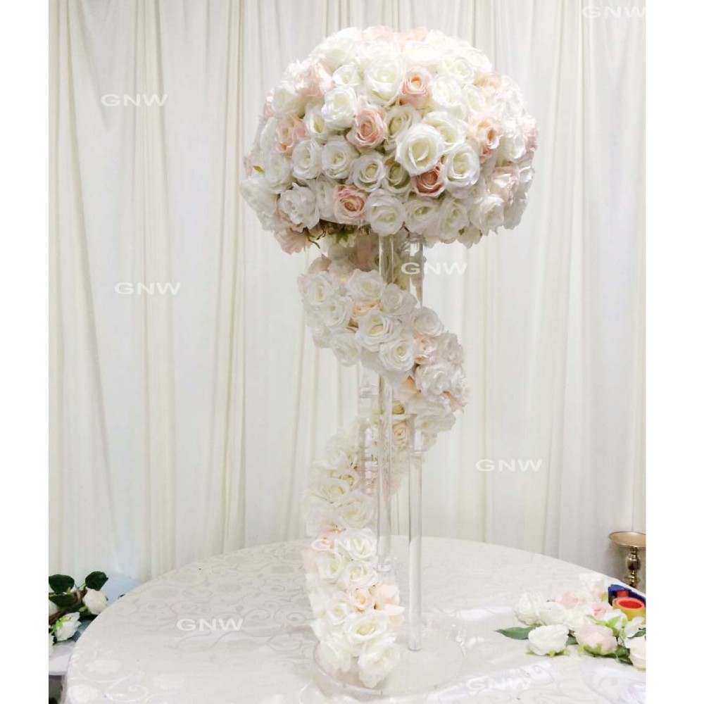 GNW CTRA-1705019 Rose silk white pink flower colors wedding dining ...