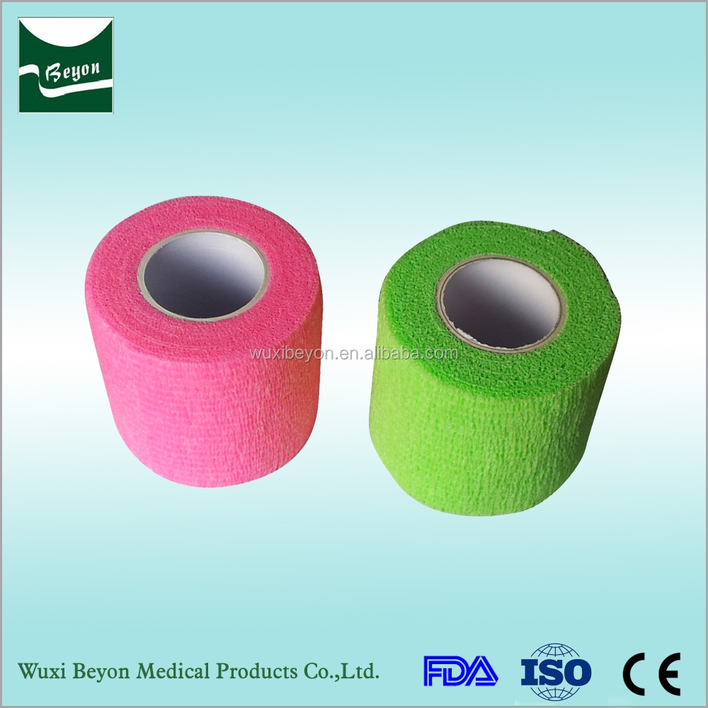 Good quality sports self adhesive bandage have different colors on wholesale