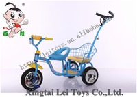 Wholesale exercise safety double seats three wheel metal bicycle twins child tricycle,pushbar 2 seats baby tricycle for 2 kids