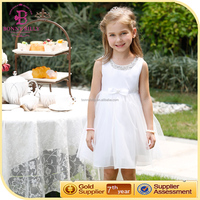 New style girl party wear western dress white plain kids beautiful model dresses elegant frock design for girl