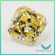 Wholesale Synthetic Gems L-Yellow Suqare Cut Corner CZ Stone