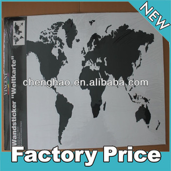 self adhesive removable black and white world map wall sticker