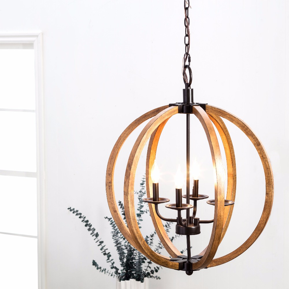 2017 hot sale American style orb vintage modern iron wood pedant lamp
