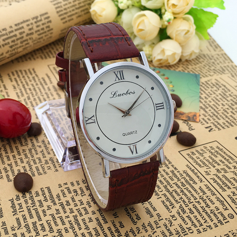 Chinese Supplier New Brown black Leather Band women and man Watches