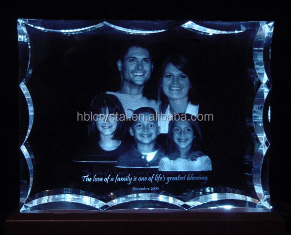 crystal 3d laser photo printing for family gifts,home decoration