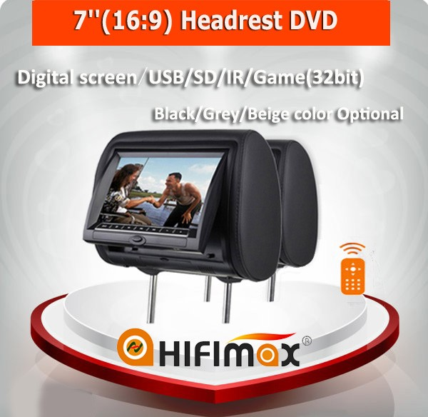 "Hifimax 7"" car dvd headrest car dvd player w/USB/SD/IR/Game(32bit)/Digital screen/remote controller Black, Grey,Beige, optional"