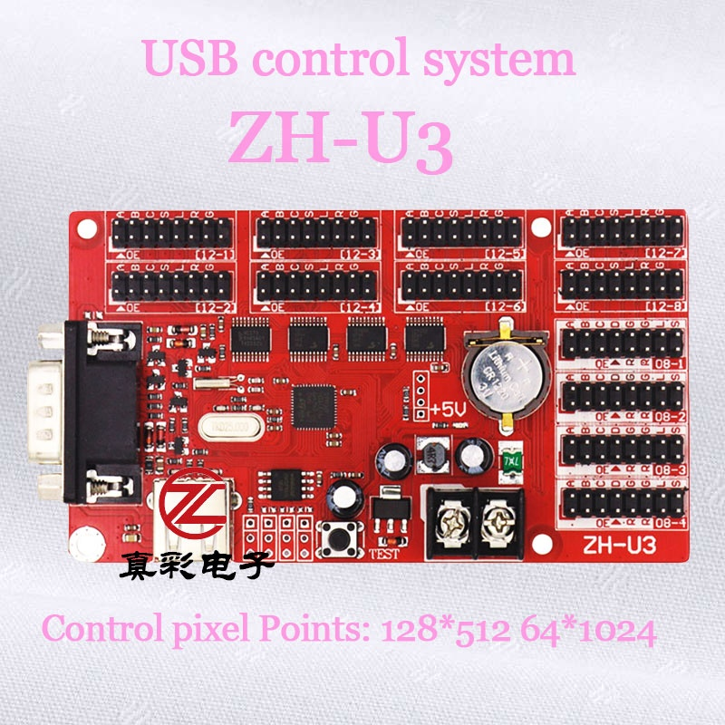 True color ZH-U3 <strong>p10</strong> rgb led control card support red green blue color indoor display controller ZH-U3