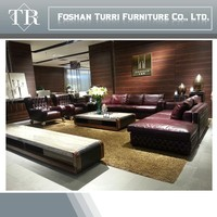 Luxury furniture italian leather chesterfield sofa for living room