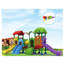Community park playground, community plastic slide, outdoor plastic slide with roof JMQ-G112A