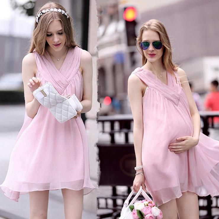 High quality eBay hot sale summer pink sleeveless chiffon maternity dress v neck solid color maternity clothing dress