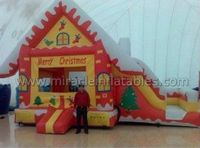 Christmas theme inflatable jumping castle with slide for kids C6008