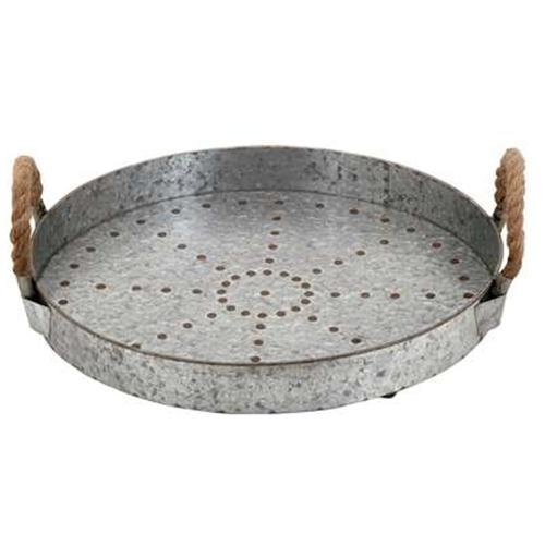 Galvanized large round iron tray with rope handle