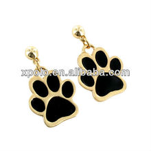 "Fashion Gold Plated And Black Enamel Paw Print Post Style Earrings With 1.5"" Drop"