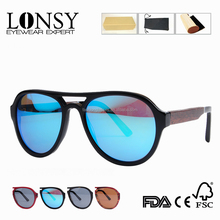 Goggle Acetate Sunglass With Wood Arms Blue Mirror Polarized Lens Sunglasses In Stock LS6012-C1