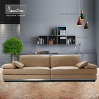 baotian furniture luxury leather loung chaise with feather cushion
