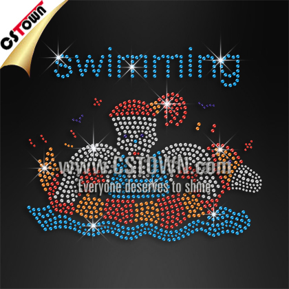 Hot fix rhinestone swimming girl motif design for clothes