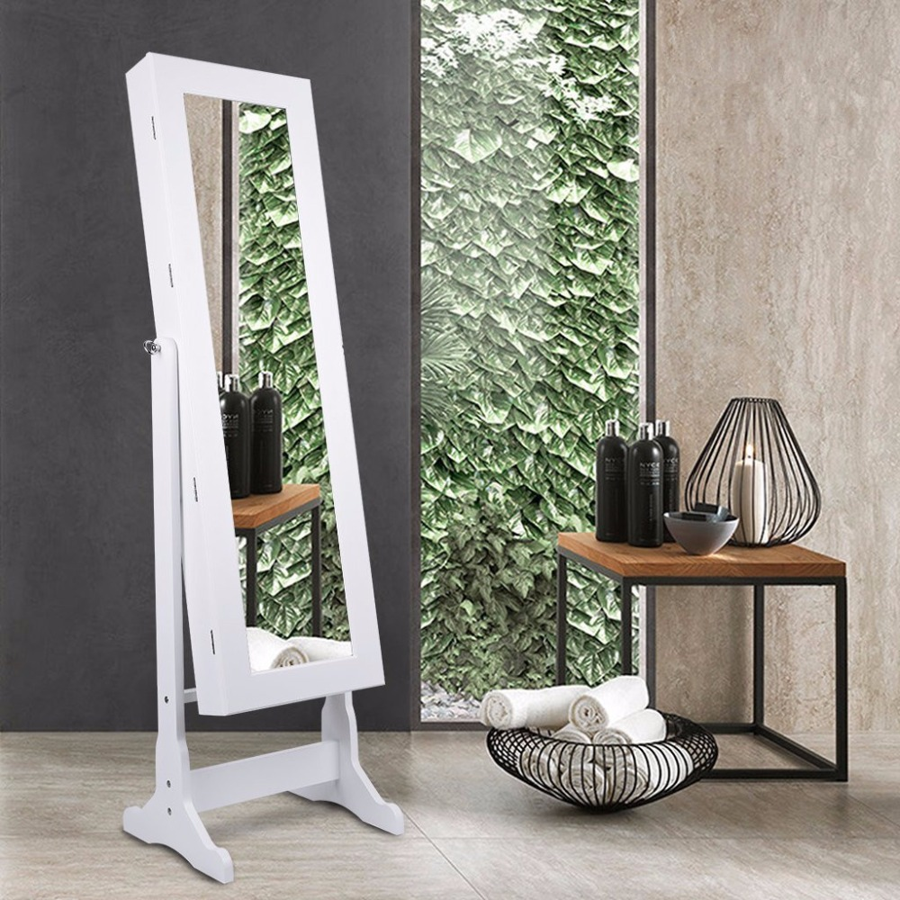 Wholesale Standing Display wardrobe jewelry mirror cabinet armoire in white